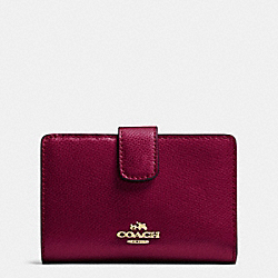 COACH F53436 Medium Corner Zip Wallet In Crossgrain Leather IMITATION GOLD/SHERRY