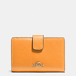 COACH F53436 Medium Corner Zip Wallet In Crossgrain Leather IMITATION GOLD/ORANGE PEEL