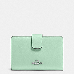 COACH F53436 Medium Corner Zip Wallet In Crossgrain Leather SILVER/SEAGLASS
