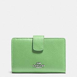 COACH F53436 Medium Corner Zip Wallet In Crossgrain Leather SILVER/PISTACHIO