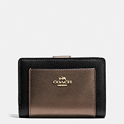 COACH F53437 Corner Zip Wallet In Bicolor Crossgrain Leather IMITATION GOLD/BLACK/BRONZE