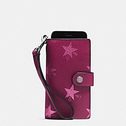 PHONE CLUTCH IN STAR CANYON PRINT COATED CANVAS - f53440 - ANTIQUE NICKEL/CRANBERRY