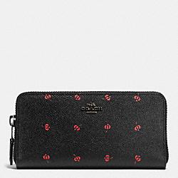 COACH F53445 Accordion Zip Wallet In Floral Print Leather BLACK ANTIQUE NICKEL/PRAIRIE BUD