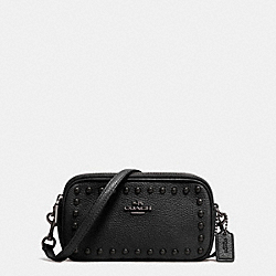 CROSSBODY POUCH IN LACQUER RIVETS PEBBLE LEATHER - f53450 - ANTIQUE NICKEL/BLACK