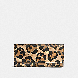 SOFT WALLET IN CROSSGRAIN LEATHER WITH WILD BEAST PRINT - f53454 - LIGHT GOLD/WILD BEAST