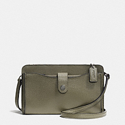 MESSENGER WITH POP-UP POUCH IN PEBBLE LEATHER - f53529 - BLACK ANTIQUE NICKEL/SURPLUS