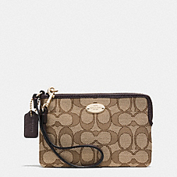 COACH F53536 Corner Zip Wristlet In Signature LIGHT GOLD/KHAKI/BROWN