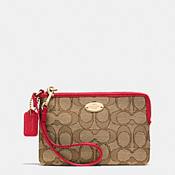 COACH F53536 Corner Zip Wristlet In Signature IMITATION GOLD/KHAKI/CLASSIC RED