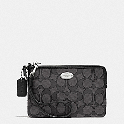 COACH F53536 Corner Zip Wristlet In Outline Signature Jacquard SILVER/BLACK SMOKE