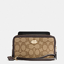 COACH F53537 Double Zip Phone Wallet In Signature LIGHT GOLD/KHAKI/BROWN