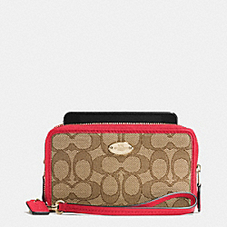 COACH F53537 Double Zip Phone Wallet In Signature IMITATION GOLD/KHAKI/CLASSIC RED