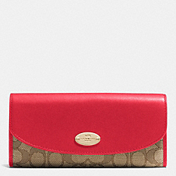 COACH F53538 Slim Envelope Wallet In Signature IMITATION GOLD/KHAKI/CLASSIC RED