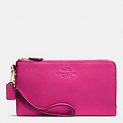 COACH F53561 Double Zip Wallet In Pebble Leather IMITATION GOLD/CRANBERRY