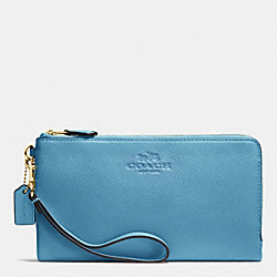 COACH F53561 Double Zip Wallet In Pebble Leather IMITATION GOLD/BLUEJAY