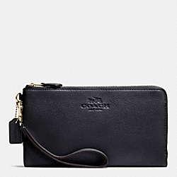 COACH F53561 Double Zip Wallet In Pebble Leather LIGHT GOLD/MIDNIGHT