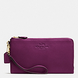 COACH F53561 Double Zip Wallet In Pebble Leather IMITATION GOLD/PLUM
