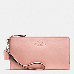 COACH F53561 Double Zip Wallet In Pebble Leather SILVER/BLUSH