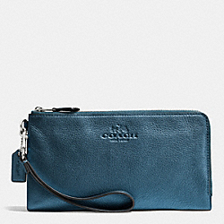 COACH F53561 Double Zip Wallet In Pebble Leather SVBL9