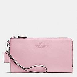 COACH F53561 Double Zip Wallet In Pebble Leather SILVER/PETAL