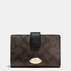 COACH F53562 Medium Corner Zip Wallet In Signature LIGHT GOLD/BROWN/BLACK