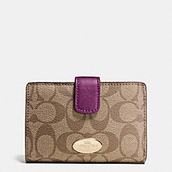 COACH F53562 Medium Corner Zip Wallet In Signature IMITATION GOLD/KHAKI/PLUM