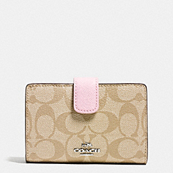 COACH F53562 Medium Corner Zip Wallet In Signature SILVER/LIGHT KHAKI/PETAL