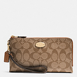 COACH F53563 Double Zip Wallet In Signature LIGHT GOLD/KHAKI/SADDLE