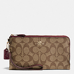 COACH F53563 Double Zip Wallet In Signature IMITATION GOLD/KHAKI/SHERRY