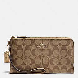 COACH F53563 Double Zip Wallet In Signature IMITATION GOLD/KHAKI/GOLD