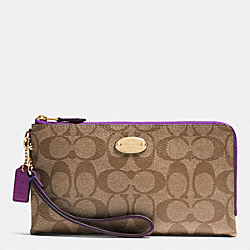 COACH F53563 Double Zip Wallet In Signature IMITATION GOLD/KHAKI/PLUM
