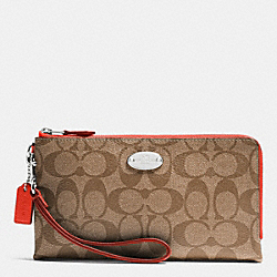 COACH F53563 Double Zip Wallet In Signature SILVER/KHAKI/ORANGE