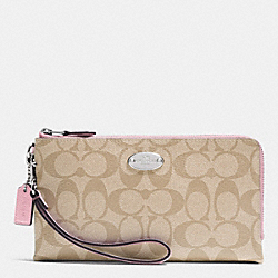 COACH F53563 Double Zip Wallet In Signature SILVER/LIGHT KHAKI/PETAL
