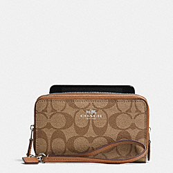 COACH F53564 Double Zip Phone Wallet In Signature LIGHT GOLD/KHAKI/SADDLE