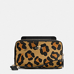 COACH F53565 Double Zip Phone Wallet In Ocelot Print Haircalf IMITATION GOLD/NEUTRAL