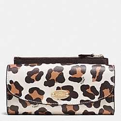 COACH F53566 Pop Slim Envelope Wallet In Ocelot Print Haircalf LIGHT GOLD/CHALK MULTI
