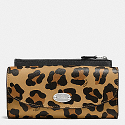 COACH F53566 Pop Slim Envelope Wallet In Ocelot Print Haircalf IMITATION GOLD/NEUTRAL