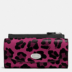COACH F53566 Pop Slim Envelope Wallet In Ocelot Print Coated Canvas SILVER/CRANBERRY