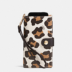 PHONE CLUTCH IN OCELOT PRINT HAIRCALF - f53567 - LIGHT GOLD/CHALK MULTI