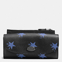 COACH F53568 Pop Slim Envelope Wallet In Star Canyon Print Coated Canvas QB/BLUE MULTICOLOR