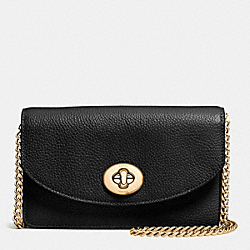 COACH F53578 Clutch Chain Wallet In Pebble Leather LIGHT GOLD/BLACK