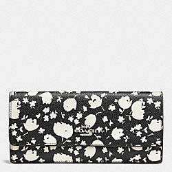 SOFT WALLET IN FLORAL PRINT LEATHER - f53587 - SILVER/CHALK PRAIRIE CALICO