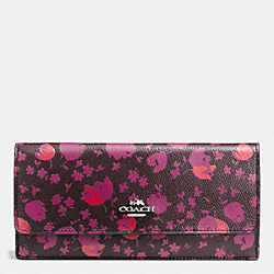COACH F53587 Soft Wallet In Floral Print Leather SILVER/OXBLOOD PRAIRIE CALICO