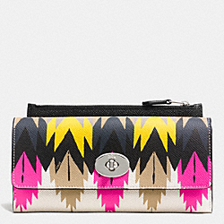 SLIM ENVELOPE WALLET WITH POP-UP POUCH IN PRINTED CROSSGRAIN LEATHER - f53599 - SILVER/HAWK FEATHER