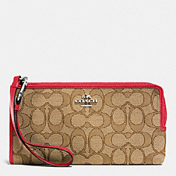 COACH F53601 Zippy Wallet In Signature SILVER/KHAKI/TRUE RED