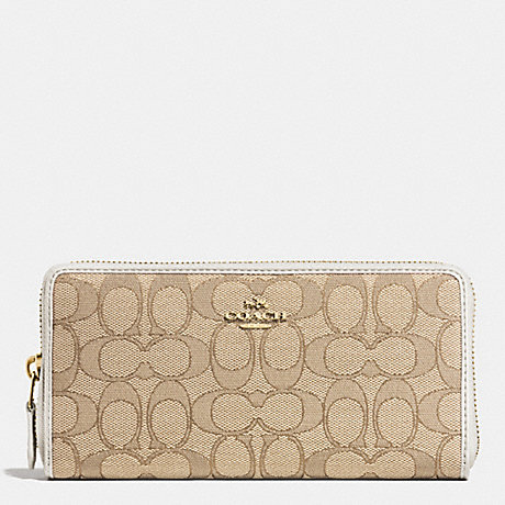 COACH f53602 ACCORDION ZIP WALLET IN SIGNATURE LIGHT GOLD/LIGHT KHAKI/CHALK