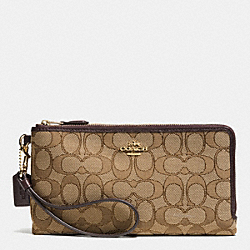 COACH F53610 Double Zip Wallet In Signature LIGHT GOLD/KHAKI/BROWN