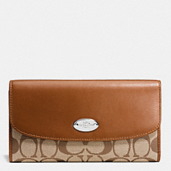 COACH F53615 Checkbook Wallet In Signature SILVER/KHAKI/MAHOGANY