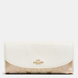 COACH F53617 Slim Envelope Wallet In 12cm Signature IMITATION GOLD/LIGHT KHAKI/CHALK