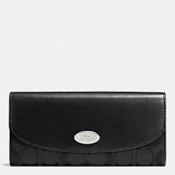 COACH F53617 Slim Envelope Wallet In 12cm Signature SILVER/BLACK/BLACK