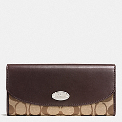 COACH F53617 Slim Envelope Wallet In 12cm Signature SILVER/KHAKI/MAHOGANY